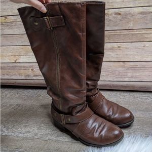SO Brand Size 7 Dark Brown Tall Faux Leather Boots